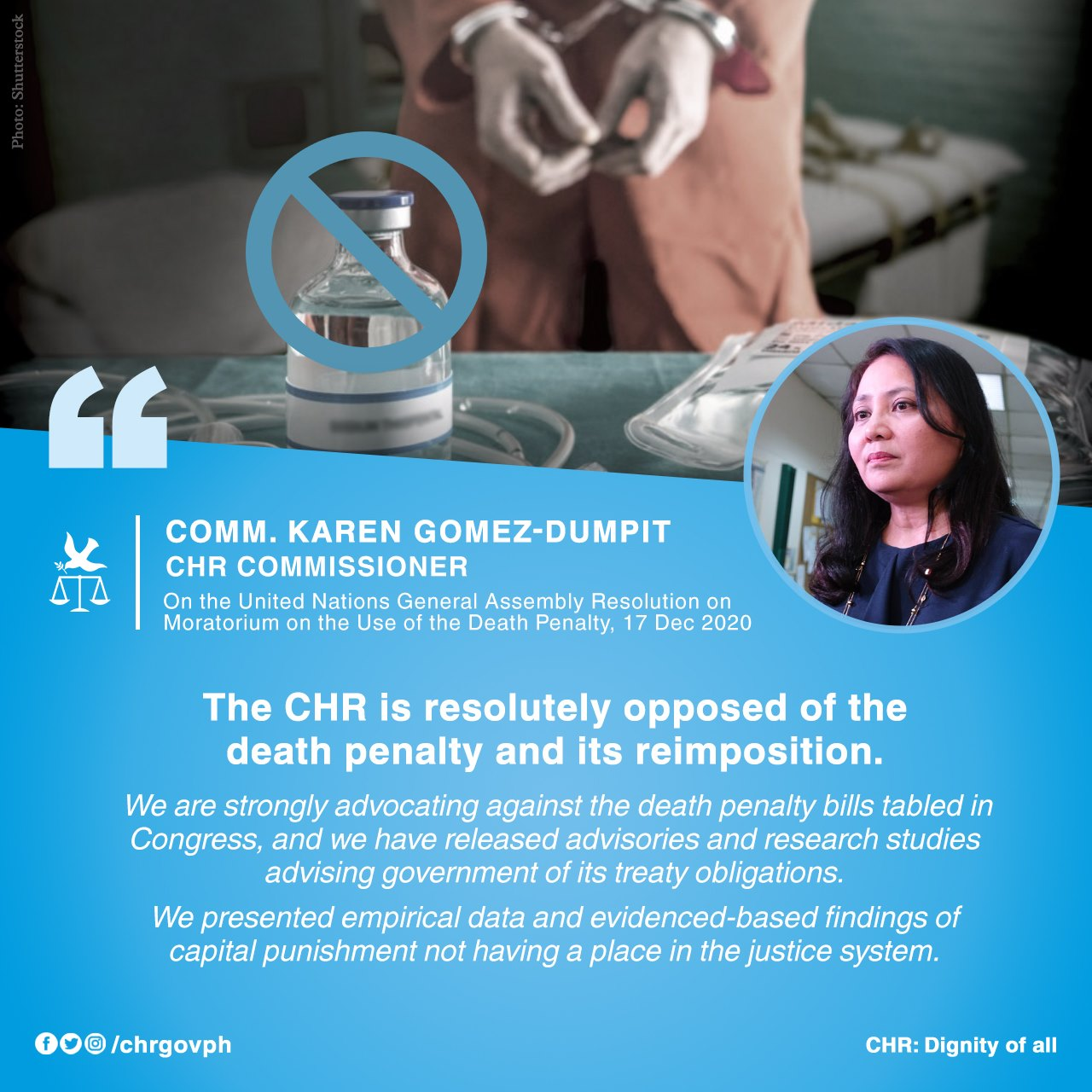Statement of Commissioner Karen Gomez-Dumpit on the United Nations General Assembly Resolution on Moratorium on the Use of the Death Penalty