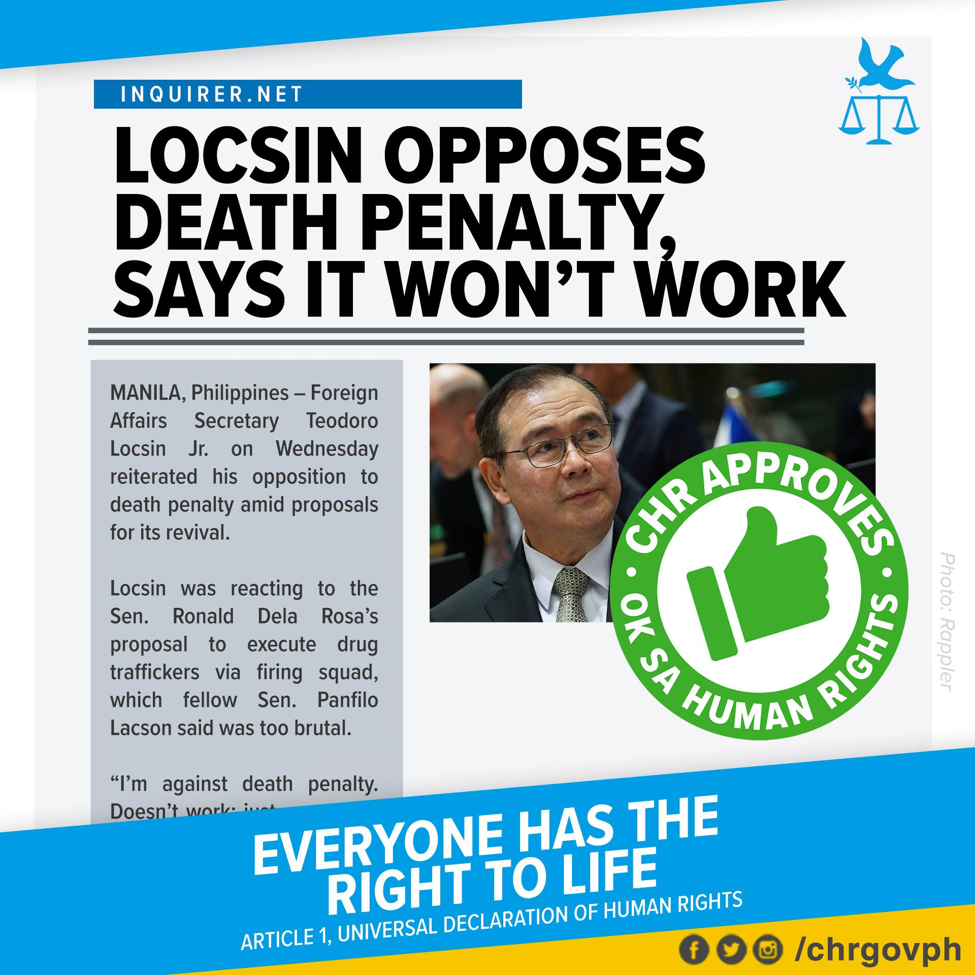 CHR OK Card: Locsin opposes death penalty, says it wont work