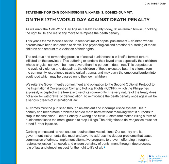 Statement of Commissioner Karen S. Gomez Dumpit on the 17th World Day against Death Penalty